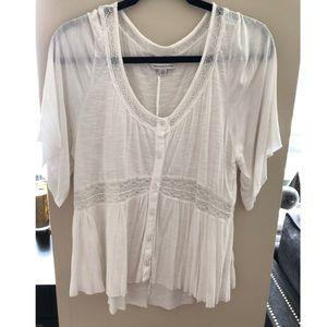 American Eagle White lace trim shirt